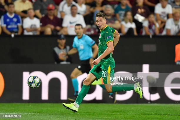 Lukas Masopust of Slavia Praha in action during UEFA Champions League 2019/2020 PlayOffs 1st leg between CFR Cluj and SK Slavia Praha on 20 August...