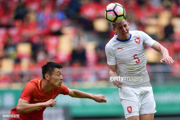 Lukas Masopust of the Czech Republic heads the ball during the China Cup International Football Championship thirdplace playoff match between China...