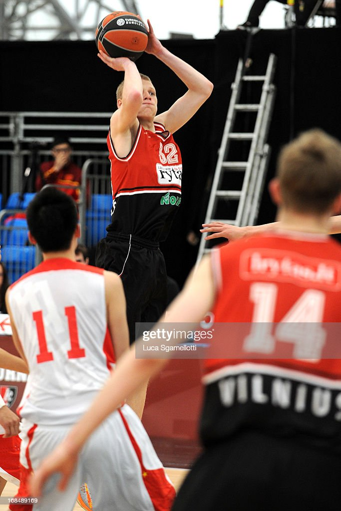 Lukas Motiejunas, #32 of Lietuvos Rytas Vilnius in action during the Nike International Junior Tournament game between Lietuvos Rytas Vilnius v Team China at London Soccerdome on May 10, 2013 in London, United Kingdom.