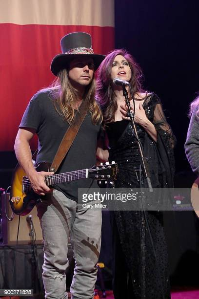 Lukas Nelson and Amy Nelson perform with their father Willie Nelson at ACL Live on December 31 2017 in Austin Texas