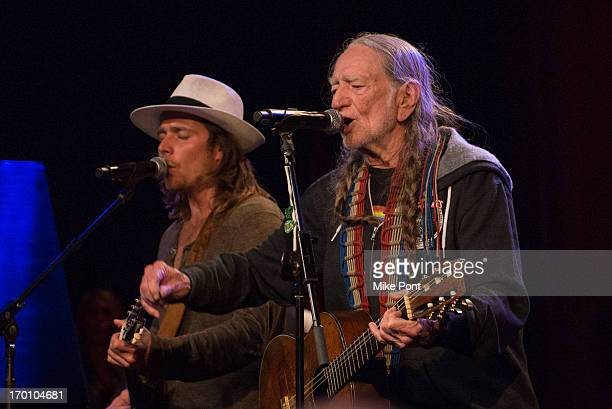 Lukas Nelson and Willie Nelson perform at Hard Rock International's Wille Nelson Artist Spotlight Benefit Concer at Hard Rock Cafe Times Square on...