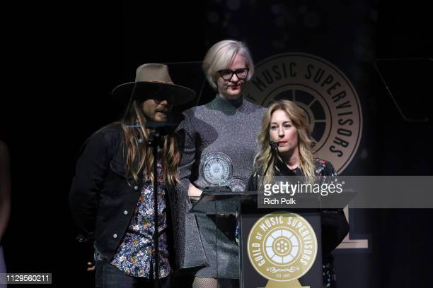 Lukas Nelson Julianne Jordan and Julia Michels speak onstage during the 9th Annual Guild of Music Supervisors Awards on February 13 2019 at The...
