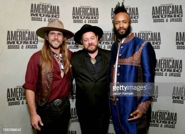 Lukas Nelson Nathaniel Rateliff and Fantastic Negrito take photos backstage during the 2018 Americana Music Honors and Awards at Ryman Auditorium on...