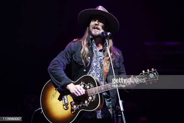 Lukas Nelson performs onstage during the 9th Annual Guild of Music Supervisors Awards on February 13 2019 at The Theatre at Ace Hotel in Los Angeles...