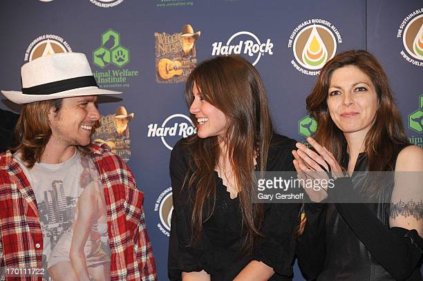 Lukas Nelson Raelyn Nelson and Amy Nelson attend the Hard Rock International's Wille Nelson Artist Spotlight Benefit Concert at Hard Rock Cafe Times...