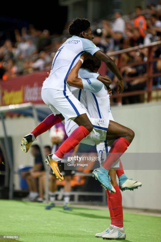 Lukas Nmecha of England celebrates scoring a goal and is mobbed by teammates during the UEFA European Under-19 Championship Final between England and Portugal on July 15, 2017 in Gori, Georgia.