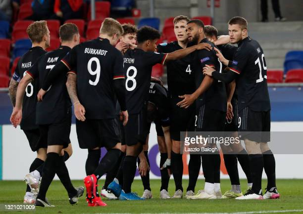 Lukas Nmecha of Germany celebrates after scoring their side's first goal during the 2021 UEFA European Under-21 Championship Quarter-finals match...