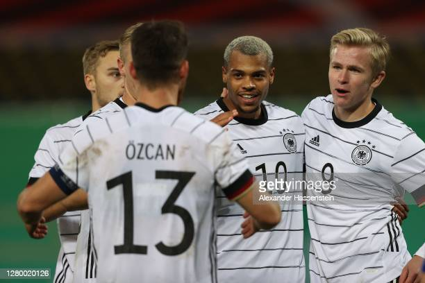 Lukas Nmecha of Germany celebrates scoring the opening goal with his team mates during the UEFA Euro Under 21 Qualifier match between Germany U21 and...