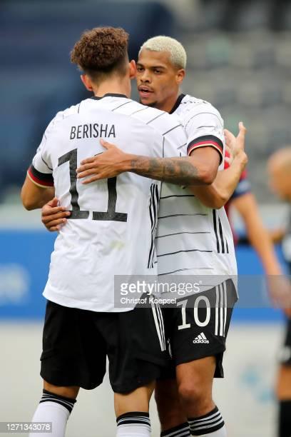 Lukas Nmecha of Germany celebrates the first goal with Mergim Berisha during the UEFA Euro Under 21 Qualifier match between Belgium U21 and Germany...