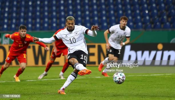 Lukas Nmecha of Germany scores his teams first goal from the penalty spot during the UEFA Euro Under 21 Qualifier match between Germany U21 and Wales...