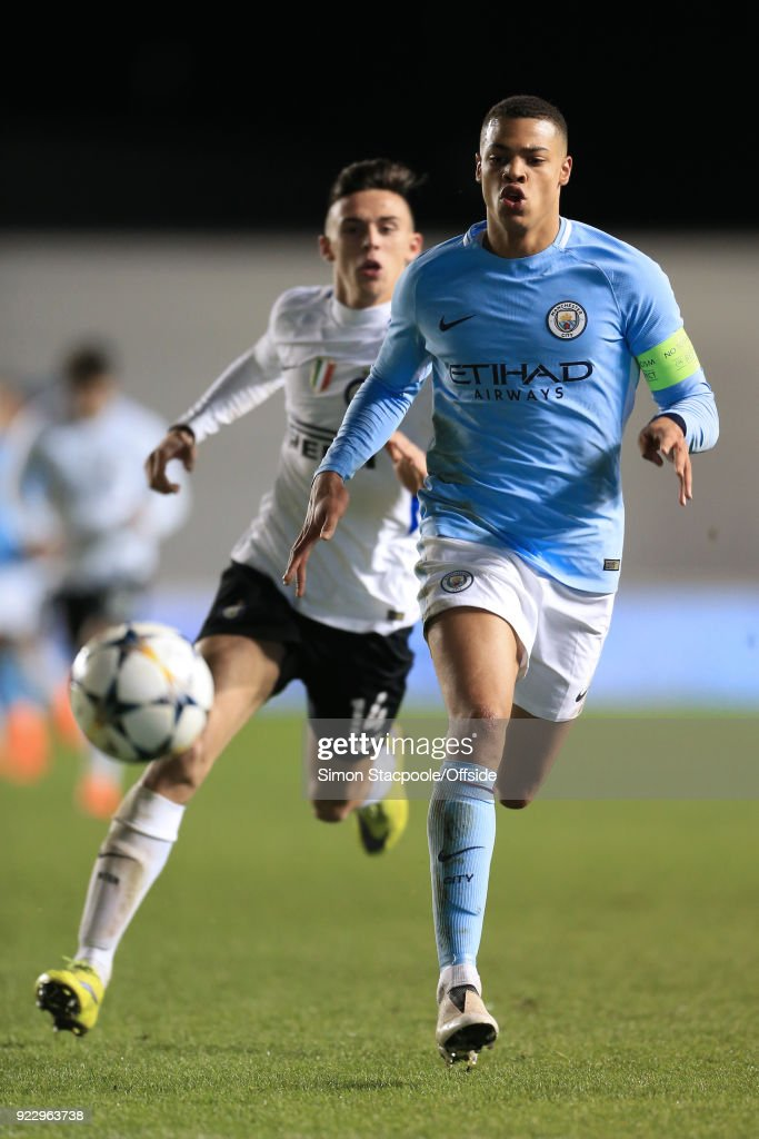 Lukas Nmecha of Man City gets away from Gabriele Zappa of Inter during the UEFA Youth League Round of 16 match between Manchester City and Inter Milan at Manchester City Football Academy on February 20, 2018 in Manchester, England.