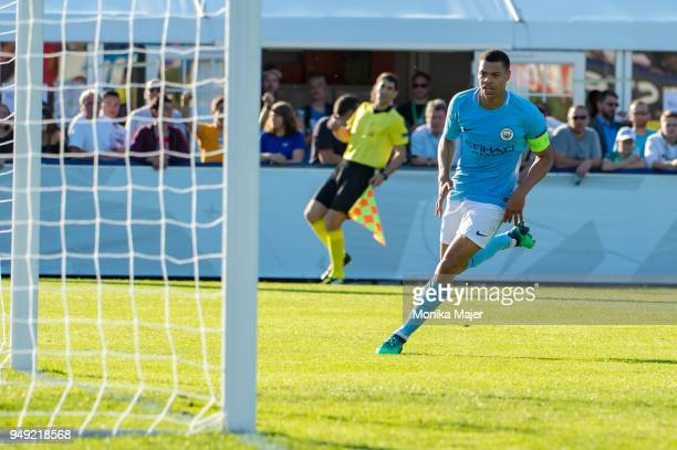 Lukas Nmecha of Manchester City celebrates his goal during the semifinal football match between Manchester City and FC Barcelona of UEFA Youth League...