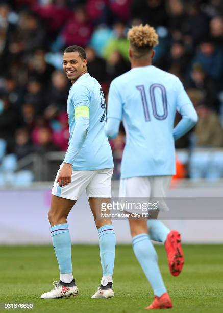 Lukas Nmecha of Manchester City celebrates scoring during the UEFA Youth League QuarterFinal at Manchester City Football Academy on March 14 2018 in...