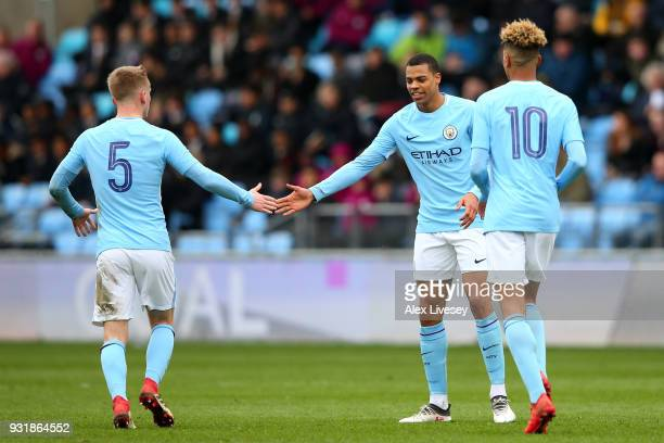 Lukas Nmecha of Manchester City celebrates scoring the first Manchester City goal with Matthew Smith of Manchester City during the UEFA Youth League...