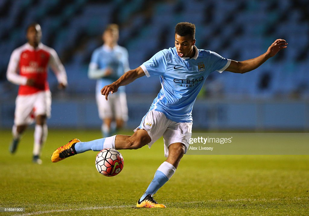Lukas Nmecha of Manchester City during the FA Youth Cup Semi Final, First Leg match between Manchester City and Arsenal at the City Football Academy on March 18, 2016 in Manchester, England.