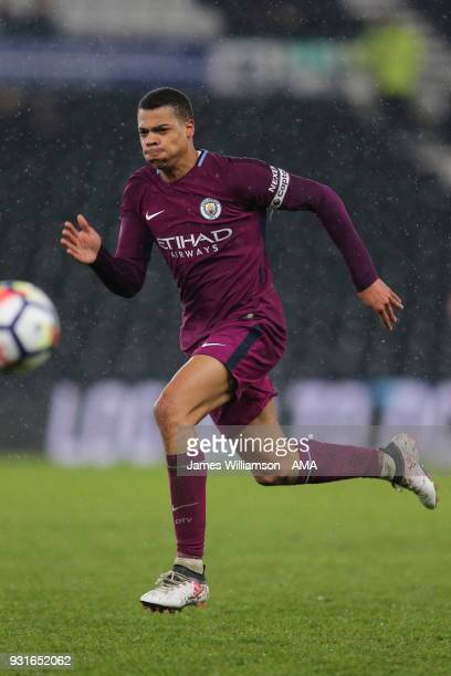 Lukas Nmecha of Manchester City during the Premier League 2 match between Derby County and Manchester City on March 9 2018 in Derby England