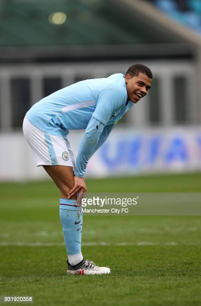 Lukas Nmecha of Manchester City during the UEFA Youth League QuarterFinal at Manchester City Football Academy on March 14 2018 in Manchester England