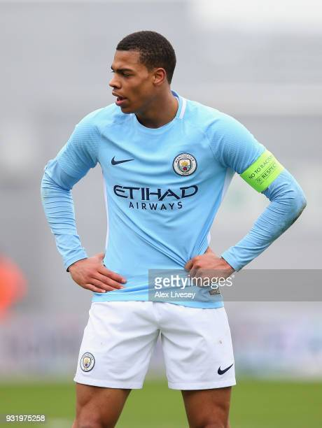 Lukas Nmecha of Manchester City during the UEFA Youth League QuarterFinal match between Manchester City and Liverpool at Manchester City Football...