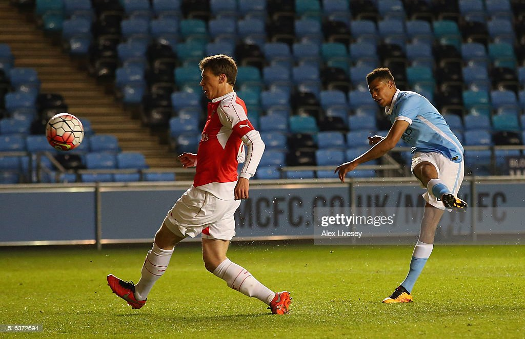 Lukas Nmecha of Manchester City scores their first goal during the FA Youth Cup Semi Final, First Leg match between Manchester City and Arsenal at the City Football Academy on March 18, 2016 in Manchester, England.