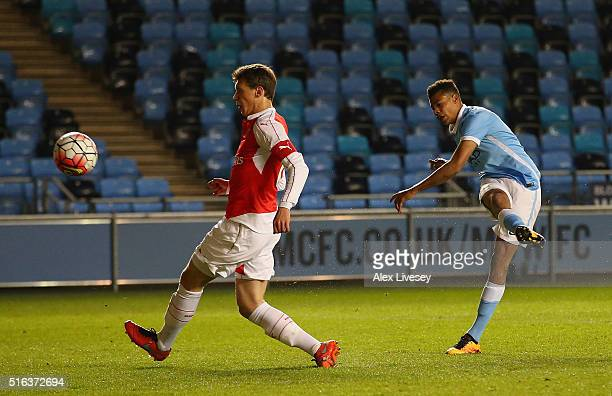Lukas Nmecha of Manchester City scores their first goal during the FA Youth Cup Semi Final First Leg match between Manchester City and Arsenal at the...