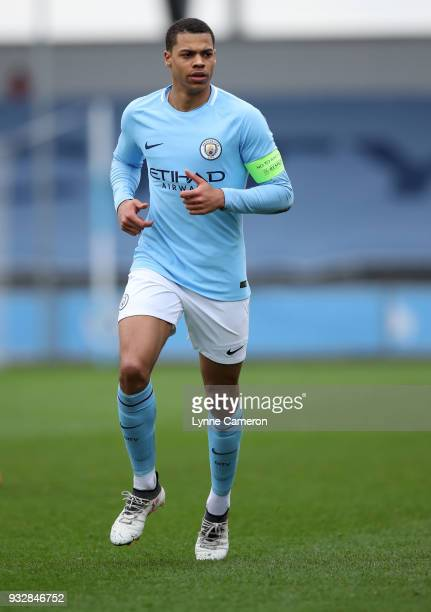 Lukas Nmecha of Manchester City walks during the UEFA Youth League QuarterFinal at Manchester City Football Academy on March 14 2018 in Manchester...