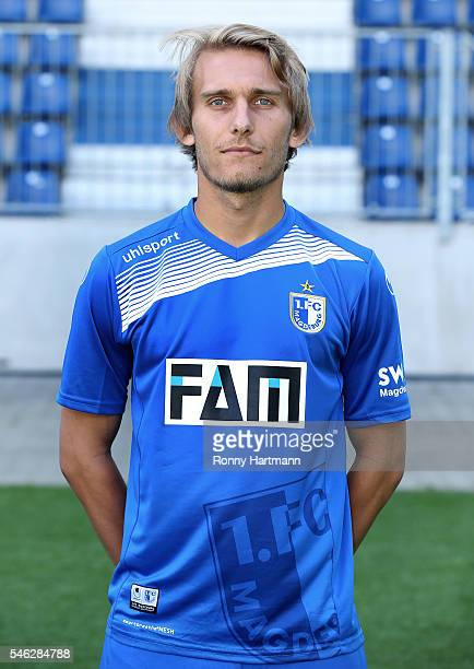 Lukas Novy poses during the team presentation of 1 FC Magdeburg at MDCCArena on July 7 2016 in Magdeburg Germany Lukas Novy