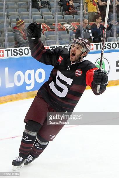 Lukas Pech of Sparta Prague celebrates a goal during the Champions Hockey League Quarter Final match between Sparta Prague and SC Bern at O2 Arena...