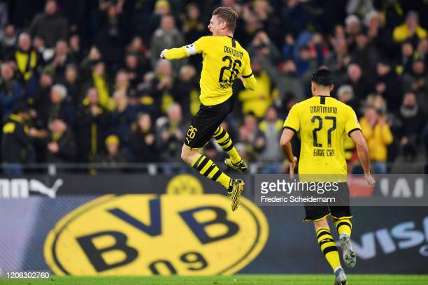 Lukas Piszczek of Dortmund celebrates his team's first goal during the Bundesliga match between Borussia Dortmund and Eintracht Frankfurt at Signal...