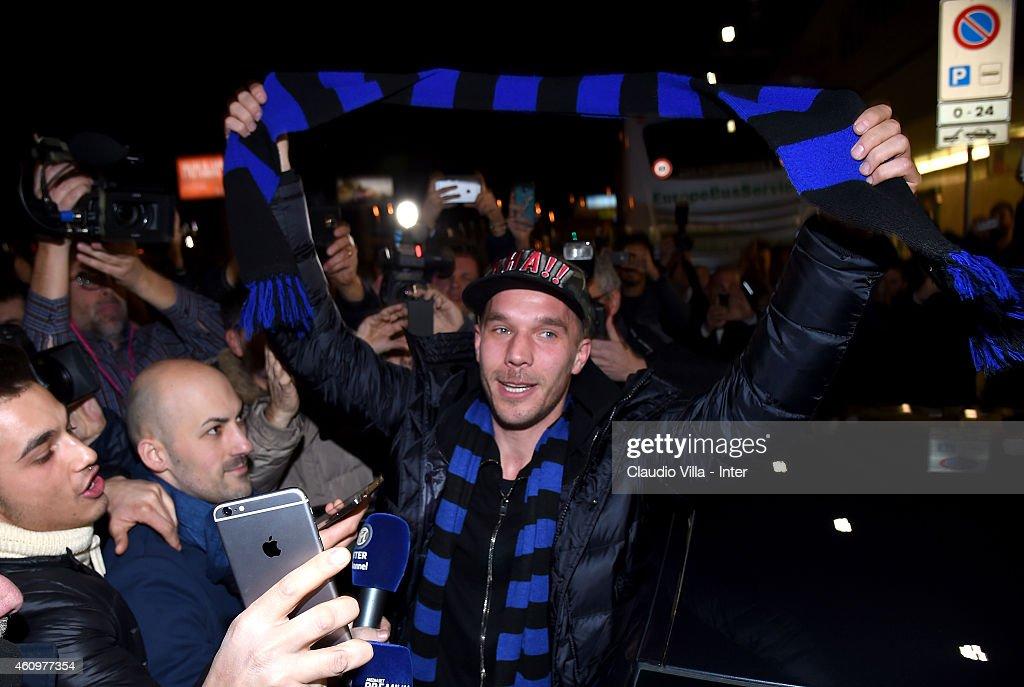 Lukas Podolski Arrives In Milan : News Photo
