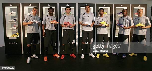 Lukas Podolski Didier Zokora Francileudo dos Santos Silva Marco Babic Jose Ze Roberto Sidney Gouvou and Andrej Voronin pose infront of the Adidas...