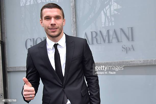 Lukas Podolski is seen leaving the the Emporio Armani Show as a part of Milan Menswear Fashion Week Fall Winter 2015/2016 on January 19 2015 in Milan...