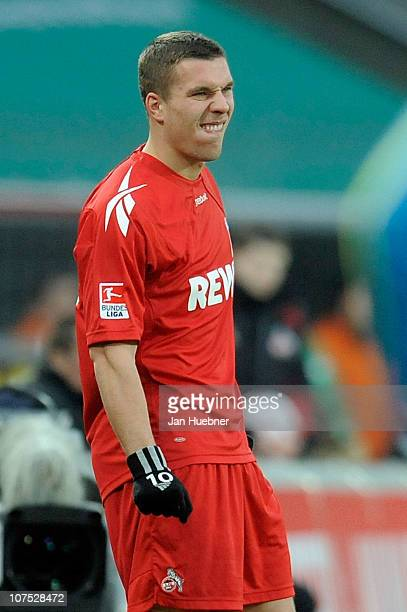 Lukas Podolski of 1 FC Koeln shows his frustration during the Bundesliga match between 1FC Koeln and Eintracht Frankfurt at RheinEnergie Stadium on...