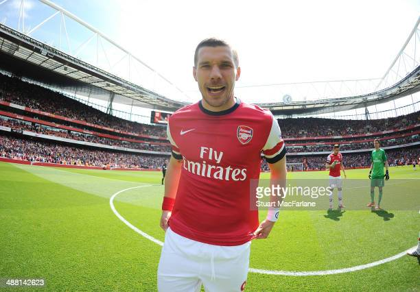 Lukas Podolski of Arsenal before the Barclays Premier League match between Arsenal and West Bromwich Albion at Emirates Stadium on May 4, 2014 in...