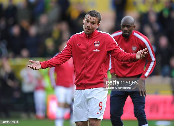 Lukas Podolski of Arsenal before the Barclays Premier League match between Norwich City and Arsenal at Carrow Road on May 11 2014 in Norwich England