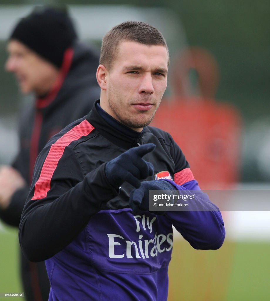 Lukas Podolski of Arsenal during a training session at London Colney on January 25, 2013 in St Albans, England.