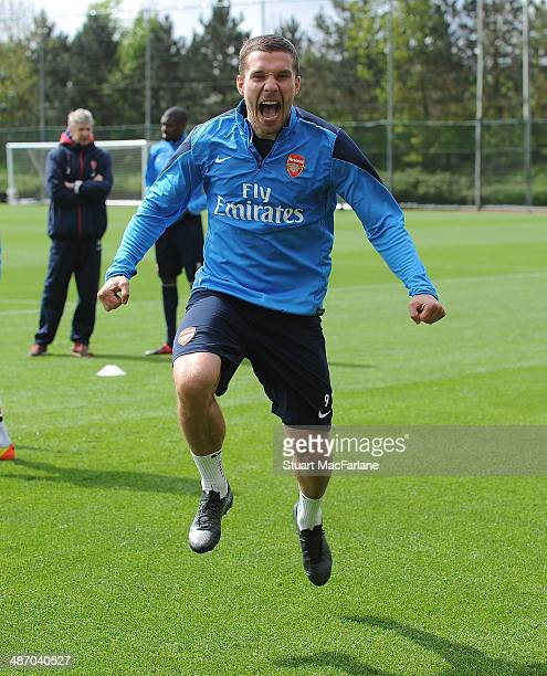 Lukas Podolski of Arsenal during a training session at London Colney on April 27, 2014 in St Albans, England.