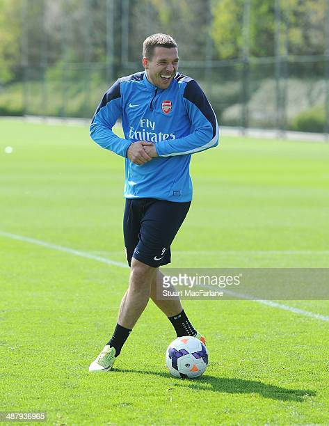 Lukas Podolski of Arsenal during a training session at London Colney on May 3, 2014 in St Albans, England.