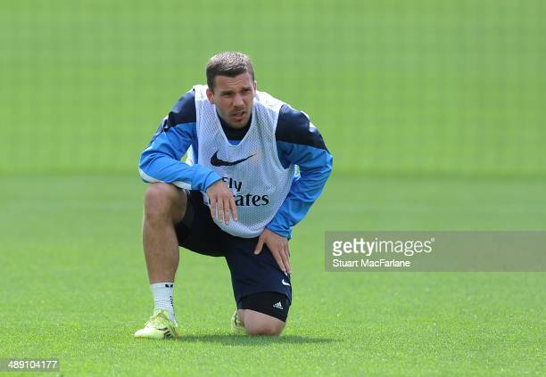 Lukas Podolski of Arsenal during a training session at London Colney on May 10, 2014 in St Albans, England.