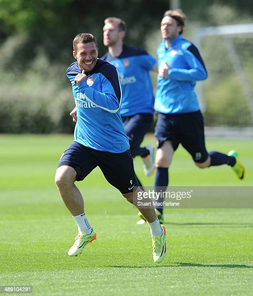 Lukas Podolski of Arsenal during a training session at London Colney on May 10 2014 in St Albans England
