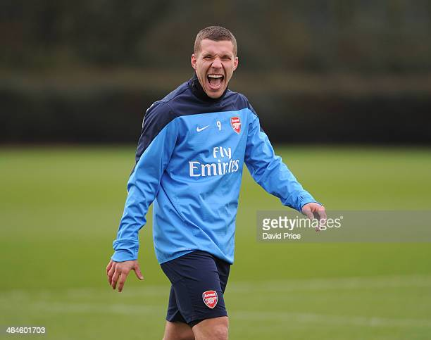 Lukas Podolski of Arsenal during Arsenal Training Session at London Colney on January 23 2014 in St Albans England