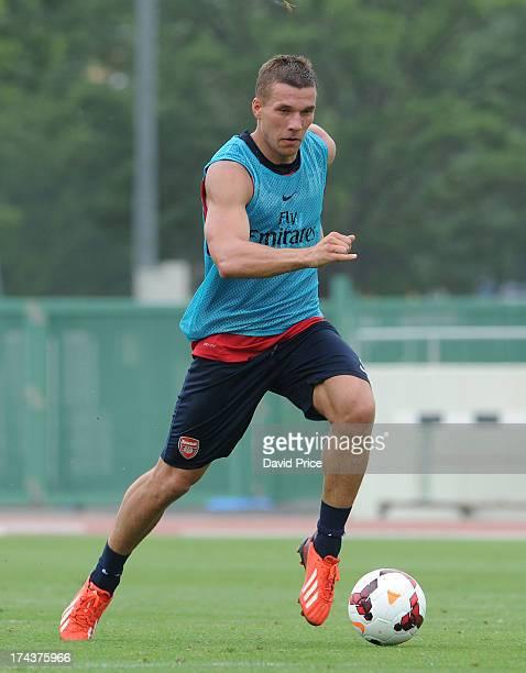 Lukas Podolski of Arsenal FC in Japan for the club's preseason Asian tour at the Urawa Komaba Stadium on July 25 2013 in Saitama Japan