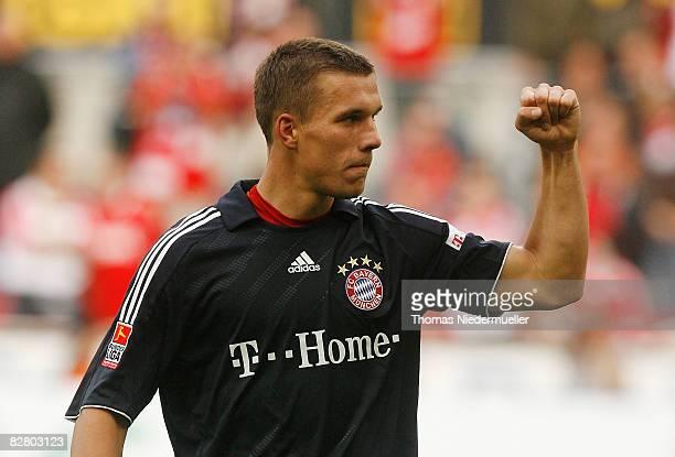 Lukas Podolski of Bayern Muenchen is seen during the Bundesliga match between 1. FC Koeln and Bayern Muenchen at the RheinEnergie stadium on...