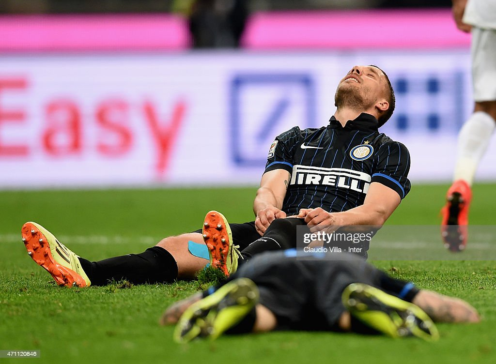Lukas Podolski of FC Internazionale dejected during the Serie A match between FC Internazionale Milano and AS Roma at Stadio Giuseppe Meazza on April 25, 2015 in Milan, Italy.