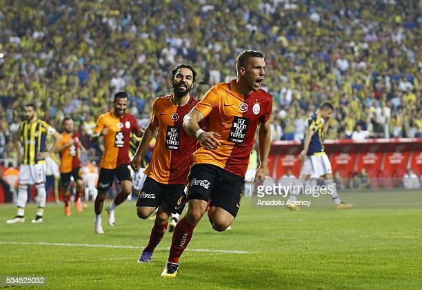 Lukas Podolski of Galatasaray celebrates after scoring a goal during the Ziraat Turkish Cup Final match between Galatasaray and Fenerbahce at Antalya...