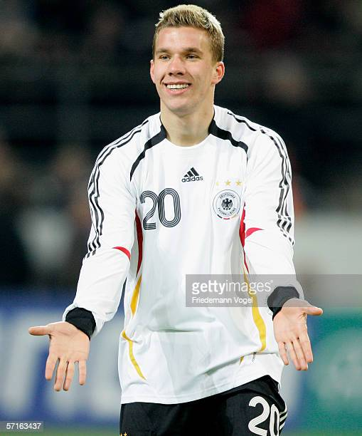 Lukas Podolski of Germany during the international friendly match between Germany and the USA at the Signal Iduna Park on March 22 2006 in Dortmund...