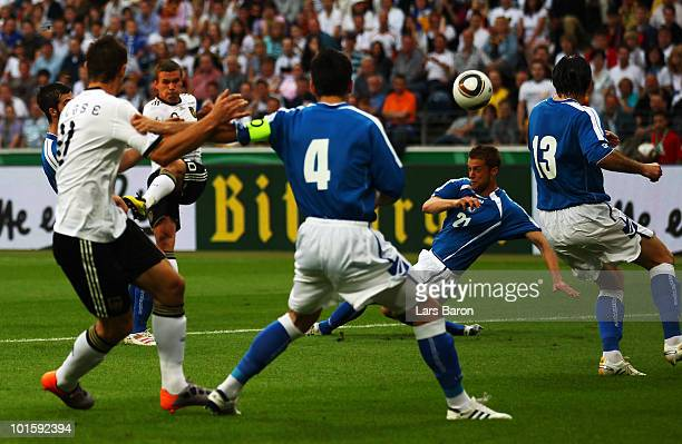 Lukas Podolski of Germany hits the post with his shoot during the international friendly match between Germany and Bosnia-Herzegovina at Commerzbank...