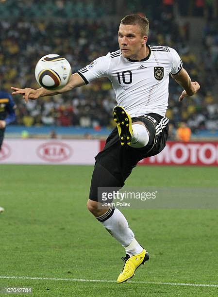 Lukas Podolski of Germany in action during the 2010 FIFA World Cup South Africa Group D match between Germany and Australia at Durban Stadium on June...
