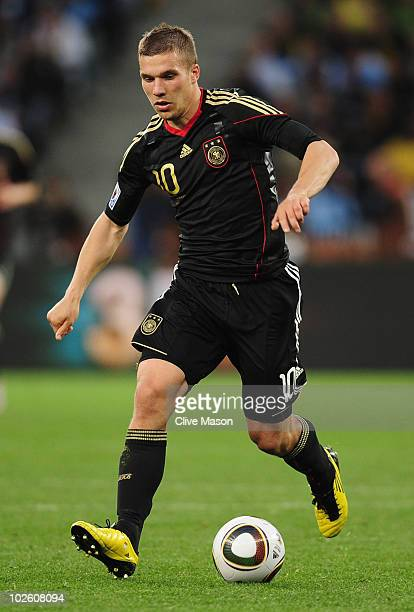 Lukas Podolski of Germany in action during the 2010 FIFA World Cup South Africa Quarter Final match between Argentina and Germany at Green Point...