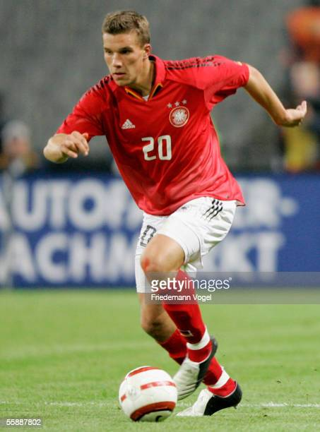 Lukas Podolski of Germany in action during the friendly match between Turkey and Germany at the Ataturk Olympic Stadium on October 8 2005 in Istanbul...