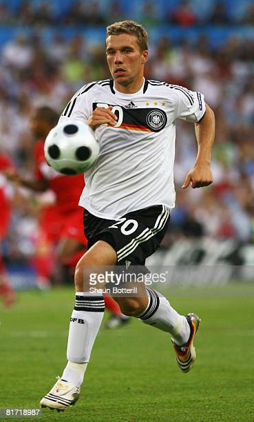 Lukas Podolski of Germany in action during the UEFA EURO 2008 Semi Final match between Germany and Turkey at St JakobPark on June 25 2008 in Basel...